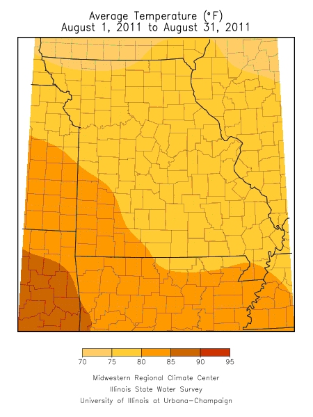 Average Temperature August 1, 2011 - August 31, 2011